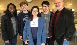Pictured: Music Department Director Ms. White, baritone Sebastian Anderson, soprano Esther Wang, tenor Jonathan Lin and Professor Zork.